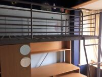 Metal High Sleeper with Wardrobe and Desk