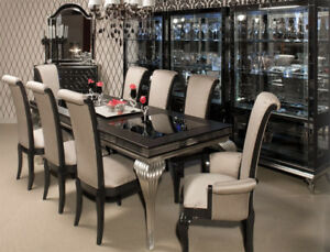 Hollywood Swank Michael Amini Dining Room With Cabinet
