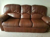 Brown leather Chloe G plan 3 seater sofa & reclining chair