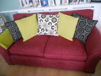 Laura Ashley 2-seater sofa deep red damask fabric for sale