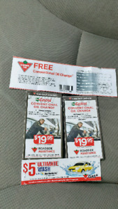 Canadian tire Oil change coupons and car wash worth around $100.