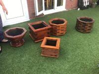 Wooden plant pots