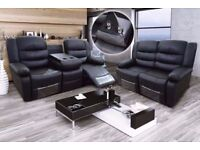 EVLYN LUXURY BONDED LEATHER 3&2 RECLINER SOFA SET WITH DRINK HOLDER - *** FREE DELIVERY ***