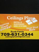 Ceilings Plus---- Installs suspended grid systems