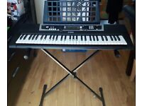 YAMAHA Black Digital Keyboard YPT-210 WITH Charger, Keyboard book stand AND Keyboard stand