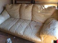 3 seater sofa cream leather