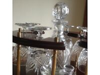 Cut glass. 6 small wine glasses and decanter on stand, plus 2 brandy glasses.