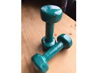 Pair of 2Kg neoprene-covered hand dumbbell weights