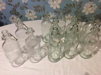 GLASS WATER BOTTLES WITH STOPPERS x 12 (Wedding)