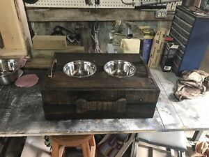 Hand made dog dish stand and storage