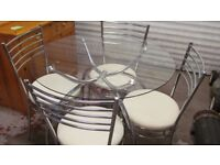 Chrome/Glass small dining table and 4 chairs