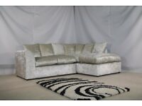 **SPECIAL OFFER** BRAND NEW JULIE CRUSH VELVET CORNER OR (3+2) SOFA