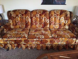 Patterned couch & matching chair