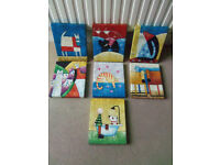 Colourful wall hang Animation prints feat. cats and dogs X7