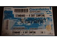 20th Anniversary Creamfields 4 day standard camping ticket. Currently selling for £230 + booking fee