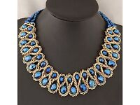 Reversible Blue Double Layer Weave Design Alloy Bib Necklaces