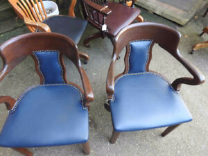 pair antique vintage office chairs walnut with new blue leather