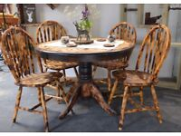 Pine Burn Wood Round Dining Table & 4 Chairs