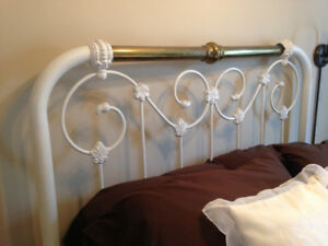 Antique Cast Iron and Brass Bed Frame w/Mattress and Boxspring