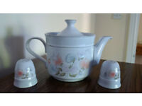 Denby 'Dauphine' Sweet Pea design teapot and salt and pepper set. Very good condition.