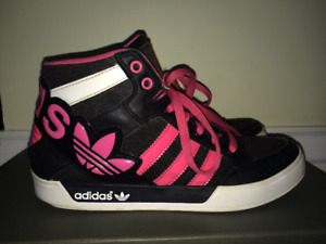 Adidas hot pink high top sneakers