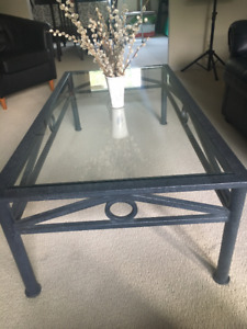 Metal and glass coffee table, 2 end tables and one taller table