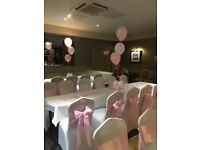 Chair covers 50P sashes bows 49 p hire set up is free for weddings christenings birthdays ect