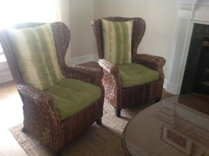 Pier One Graciosa Mocha Brown Wicker Wing Chairs (4) for Sale