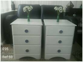 Shabby Chic White Bedside Tables.