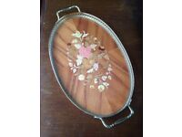Vintage Italian oval wood tray