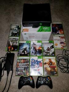 XBOX 360 Slim 250gb bundle w 2 controllers, & 10 games