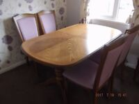 Extending dining table & 4 chairs in light oak DRASTICALLY REDUCED