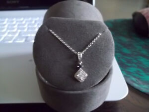 REDUCED TO SELL THIS 14K VERA WANG DIAMOND PENDANT AND CHAIN