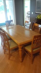 Harvest table and six chairs