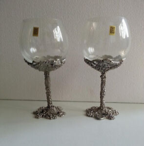 Seagull Vintage Pewter / Crystal Wine glasses / Goblets -