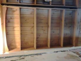 Modern pine bookshelves x 2. 178 cms x 96 cms x 21cms.