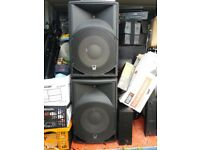 4 speakers with amp, desk and 2 stands