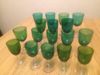 Victorian green wine and sherry glasses (17)