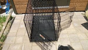 Cage pour chien moyen 2 portes + poignée transport