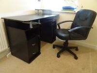 Office PC desk and leather office chair