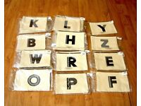 HOLIDAY / TRAVEL 29 ZIP POUCH BAG CANVAS ALPHABET BRANDED BRAND NEW JOB LOT