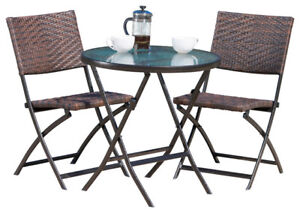 Bistro folding patio chairs and table  (new)