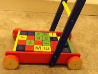 Pintoy Wooden baby walker with alphabet / number blocks