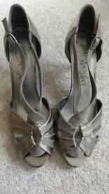M&S Pewter Peep Toe Heeled Shoes EU42/UK8