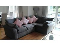 Corner Sofa - right hand ( 4 Seats ) - antique velvet light grey, Dimensons W255 x H95 x D180cm