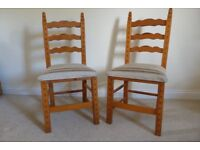 Set of six dining/kitchen chairs. Most suitable in a country cottage setting. Good clean and firm