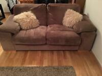 X2 fabric beige sofas and footstool