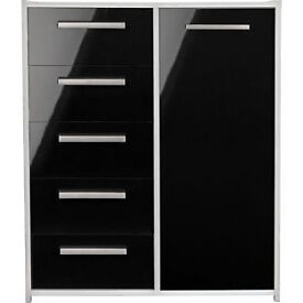 New Sywell 5 Drawer 1 Door Chest - White and Black Gloss