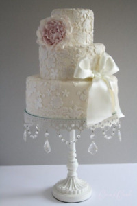 White Metal Cake Stand with Crystal Beads
