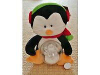 Animated Soft Plush Penguin Christmas Ornament Decoration Snowflake Spinner Xmas